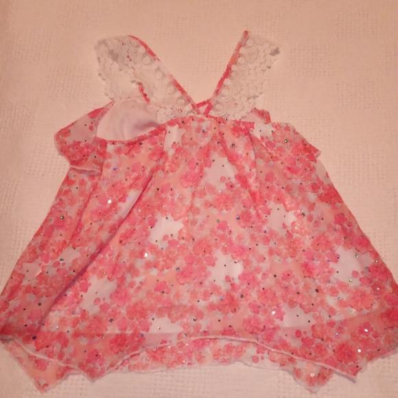 Little Lass pink/lace floral blouse, size 6X